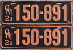 1921 Ontario YOM License Plates for sale