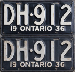 1936 Ontario licence plates for sale