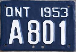 Ontario license licence YOM plates