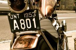 1953 Harley Davidson Pan Head Ontario license licence YOM plates