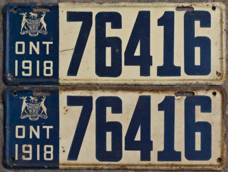 1918 Ontario license licence YOM plates