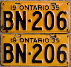 1935 Ontario YOM License Plates for sale