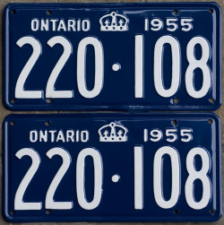 1955 Ontario license licence YOM plates