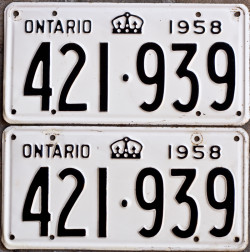 1958 Ontario YOM license plates for sale