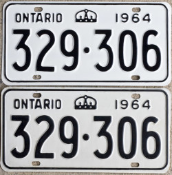 1964 Ontario YOM licence license plates for sale MTO