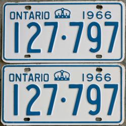 1966 Ontario license licence YOM plates