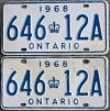 1968 Ontario license licence YOM plates