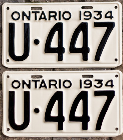 1934 Ontario licence plates for sale