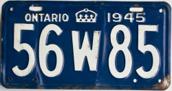 1945 Ontario License YOM Plate