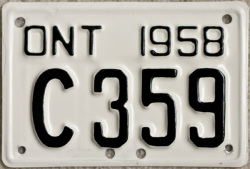 1958 Ontario motorcycle License Plate YOM
