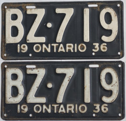 1936 Ontario YOM License Plates For Sale