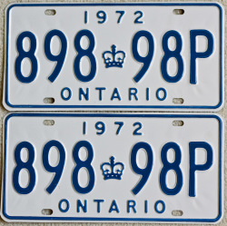 1972 Ontario YOM License Plates For Sale