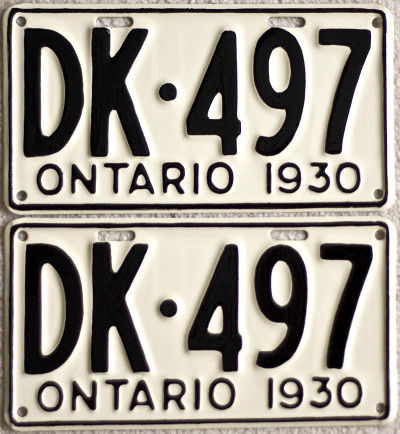 1930 Ontario YOM license plates for sale