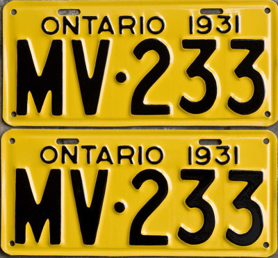1931 Ontario YOM Licence Plates for sale