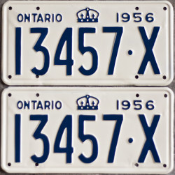 1956 Ontario YOM plates for sale