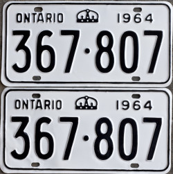 1964 Ontario YOM license plates for sale