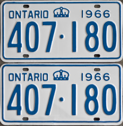 1966 Ontario YOM plates for sale