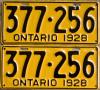 1928 Ontario YOM license plates