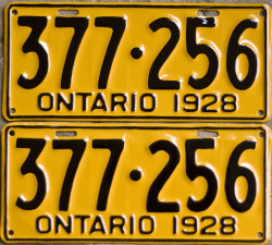 1928 Ontario YOM license plates