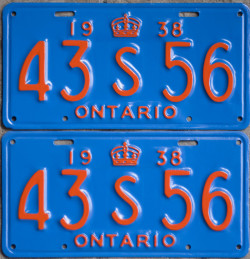 1938 Ontario YOM License plates for sale