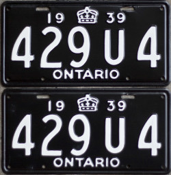 1939 Ontario YOM License plates for sale