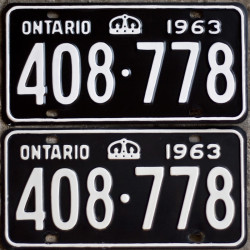 1963 Ontario YOM license plates for sale!