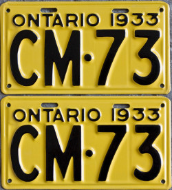 1933 Ontario YOM license plates for sale
