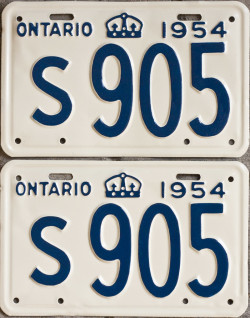 1954 Ontario YOM license plates for sale