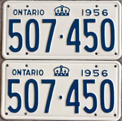 1956 YOM Ontario license plates for sale