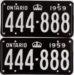 1959 Ontario YOM license plates for sale