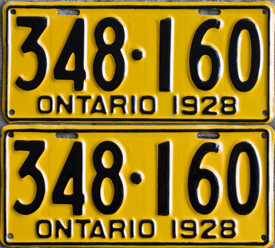 1928 Ontario YOM licence license plates for sale MTO