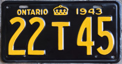 1943 Ontario YOM license plate for sale