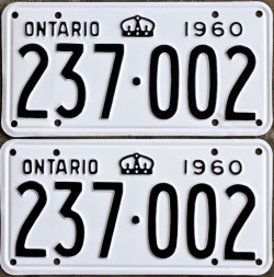 1960 Ontario YOM licence license plates for sale MTO