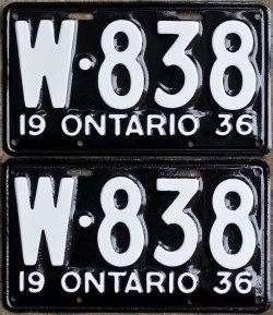 1936 Ontario YOM licence plates for sale