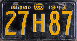 1943 Ontario YOM licence plate for sale