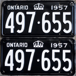 1957 Ontario YOM license plates for sale