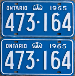1965 Ontario YOM license plates for sale