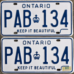 1980 Ontario license plates for sale
