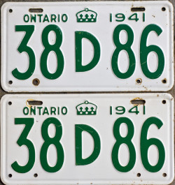 1941 Ontario YOM license plates for sale