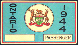 1944 Ontario license licence YOM plates sticker window windshield