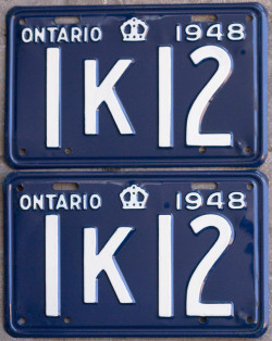 1948 Ontario YOM licence license plates for sale MTO