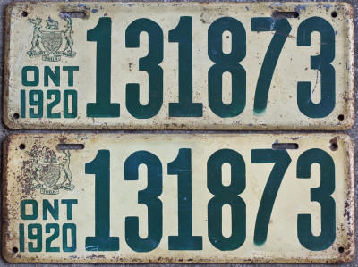 1920 Ontario YOM licence license plates for sale MTO