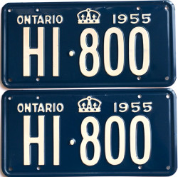 1955 Ontario YOM licence license plates for sale MTO