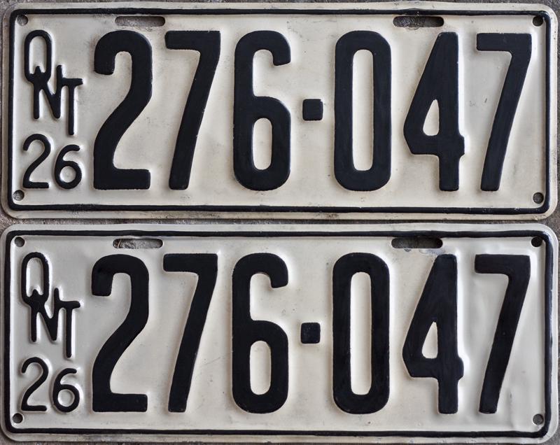 1926 Mostly Original YOM Clear License Plates