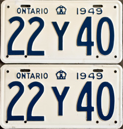 1949 Ontario YOM licence license plates for sale MTO