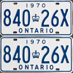 1970 Ontario YOM licence license plates for sale MTO