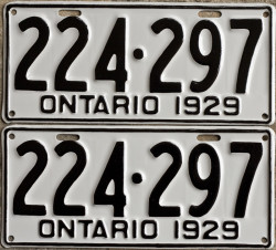 1929 Ontario YOM licence license plates for sale MTO