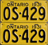 1931 Ontario licence plates for sale