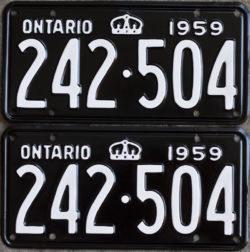 1959 Ontario licence plates for sale