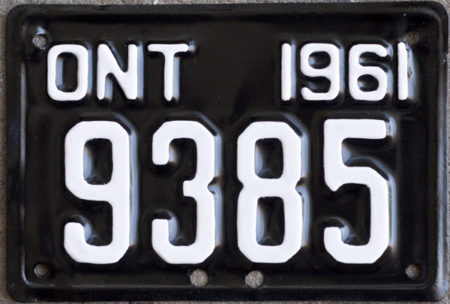 1961 Ontario YOM motorcycle licence plate for sale